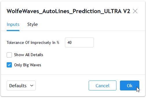 Maske der Wolfe Wave Einstellungen
